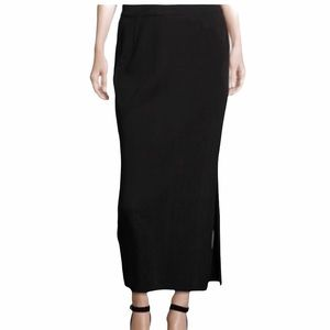 St. John Thick Santana Knit Side Slit Maxi Skirt